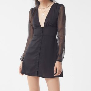 Urban Outfitters x Lioness Plunging Black Dress